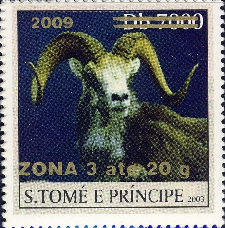 Mouflon II - gold - ZONA 3 ate 20g - Issue of Sao Tome and Principe postage stamps