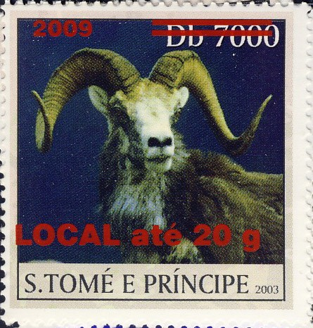 Mouflon II - red - LOCAL ate 20g - Issue of Sao Tome and Principe postage stamps