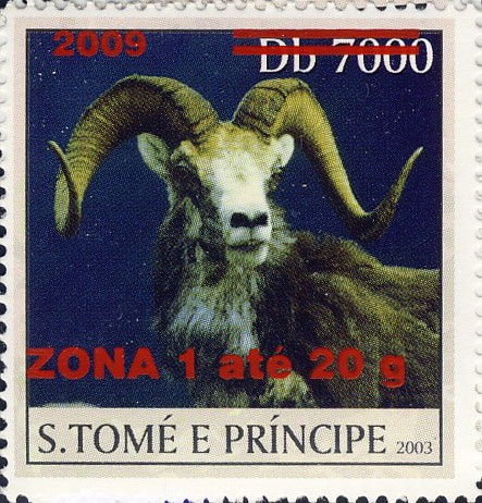 Mouflon II - red - ZONA 1 ate 20g - Issue of Sao Tome and Principe postage stamps