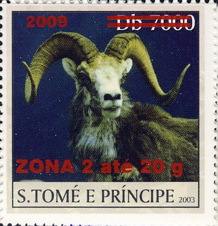 Mouflon II - red - ZONA 2 ate 20g - Issue of Sao Tome and Principe postage stamps