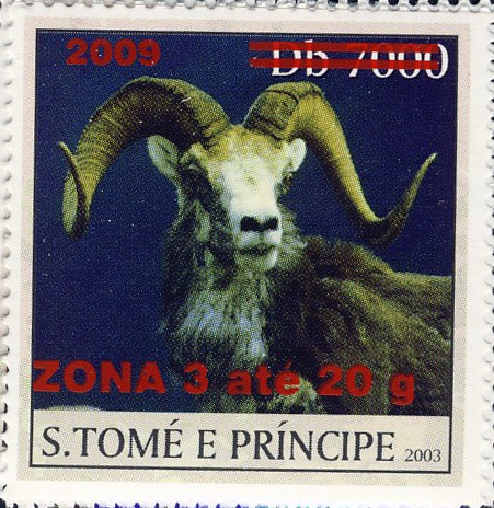 Mouflon II - red - ZONA 3 ate 20g - Issue of Sao Tome and Principe postage stamps