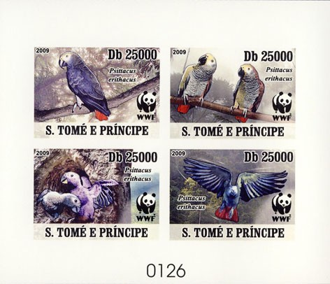 Parrots WWF De Luxe sheet with 4v - Issue of Sao Tome and Principe postage stamps