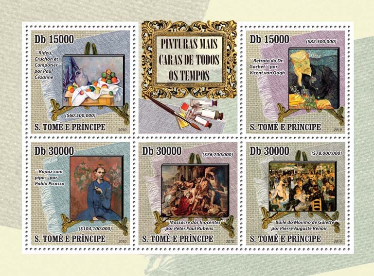 Most Expensive Paintings of All Time - Issue of Sao Tome and Principe postage stamps