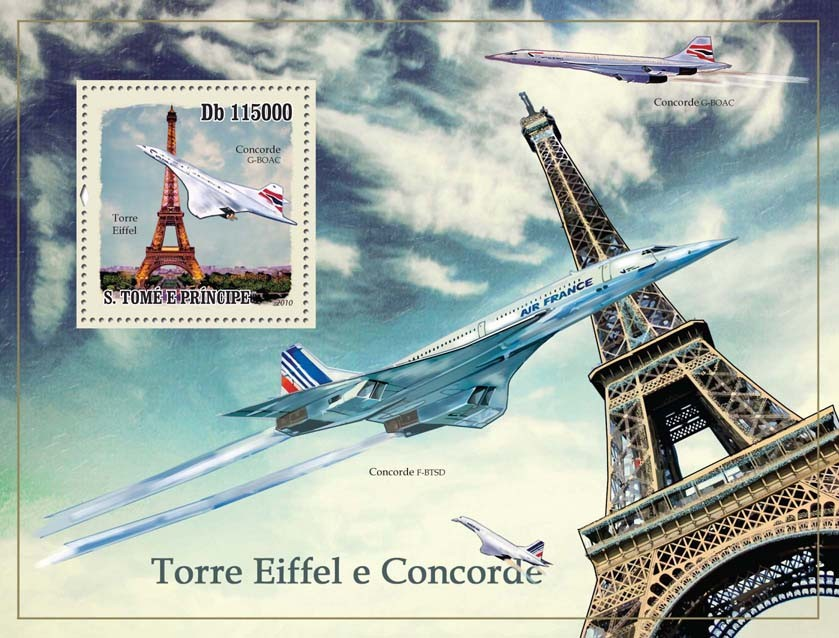 Eiffel Tower & Concorde - Issue of Sao Tome and Principe postage stamps