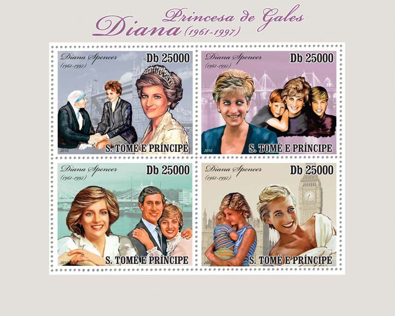 Princes of Wales Diana (1961-1997) - Issue of Sao Tome and Principe postage stamps