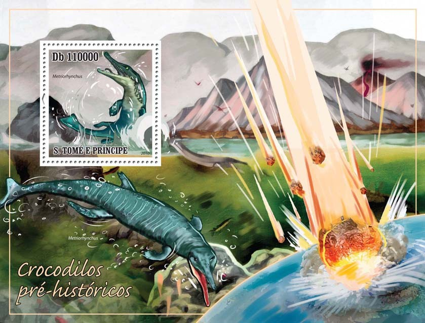 Prehistoric Crocodiles - Issue of Sao Tome and Principe postage stamps