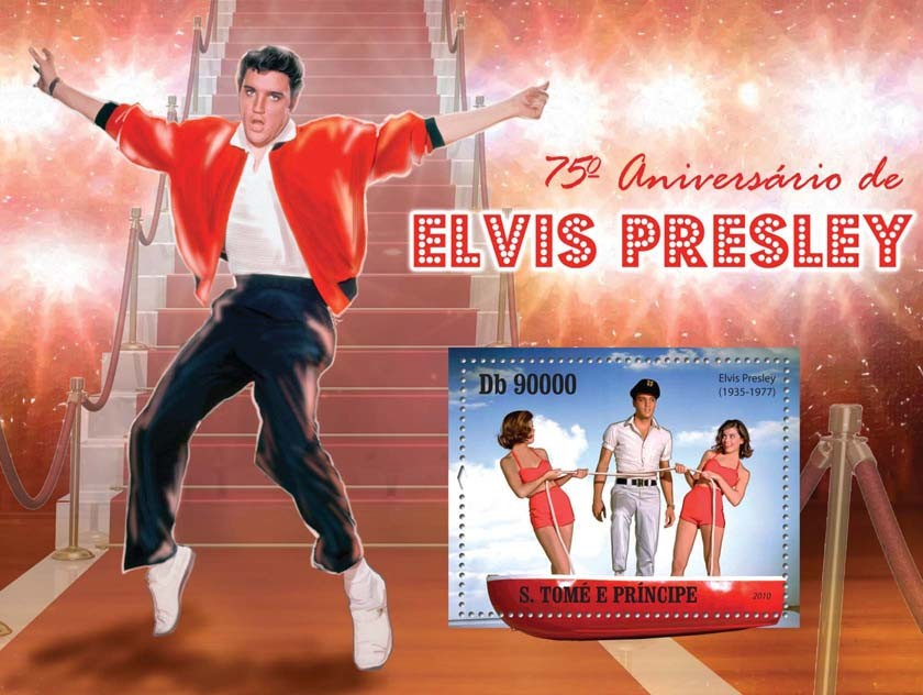 75th Anniversary of  Elvis Presley - Issue of Sao Tome and Principe postage stamps