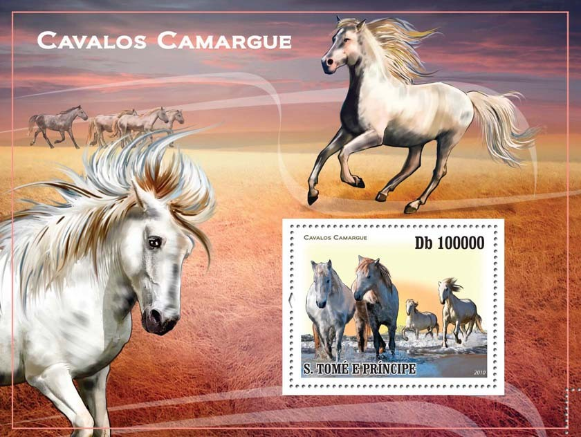 Camargue?タᆵ Horses - Issue of Sao Tome and Principe postage stamps