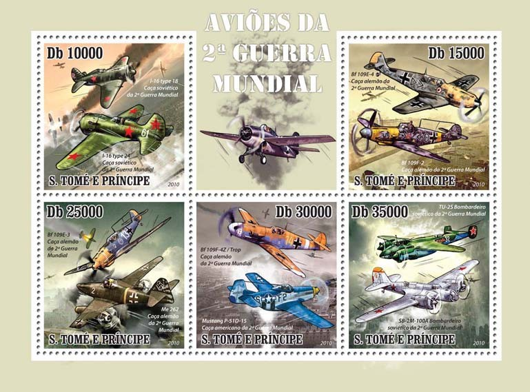 Planes of  World War II - Issue of Sao Tome and Principe postage stamps