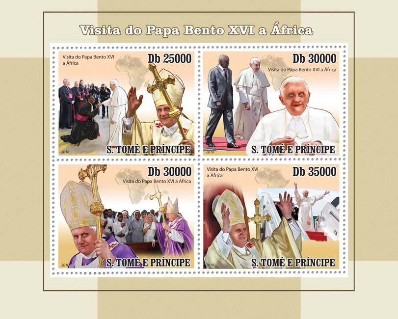 Visit of Pope Benedict XVI  in Africa - Issue of Sao Tome and Principe postage stamps
