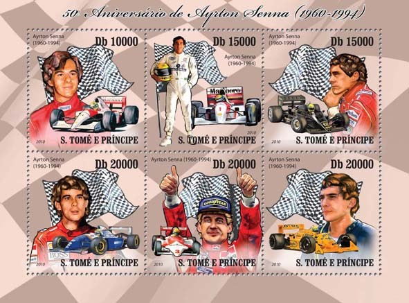 Ayrton Senna - Issue of Sao Tome and Principe postage stamps