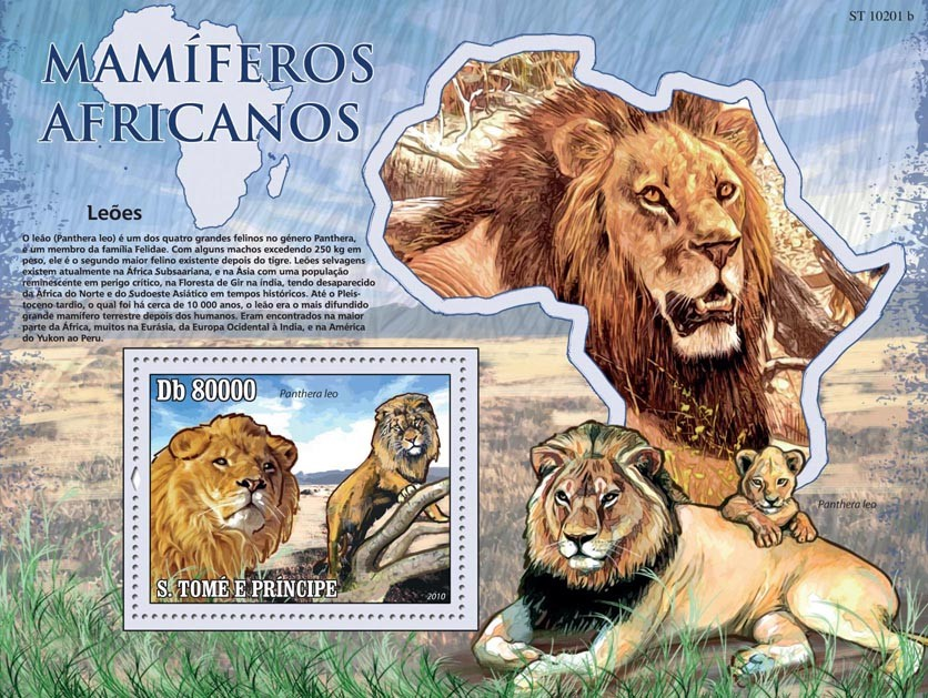 Animals of Africa - Lions - Issue of Sao Tome and Principe postage stamps