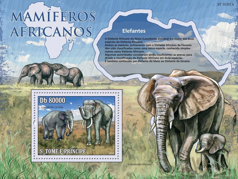 Animals of Africa - Elephants - Issue of Sao Tome and Principe postage stamps