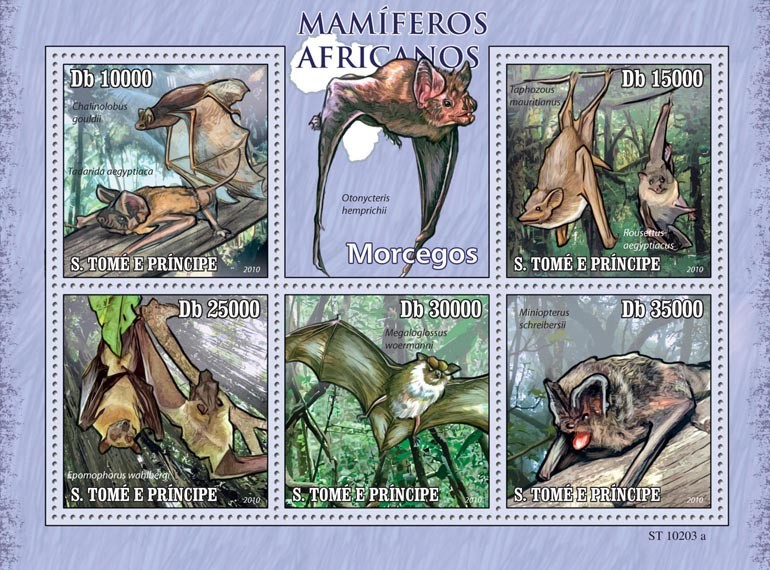 Animals of Africa - Bats - Issue of Sao Tome and Principe postage stamps