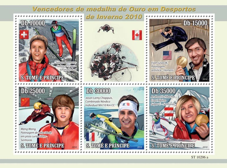 Winners of Winter Sport Games - Issue of Sao Tome and Principe postage stamps