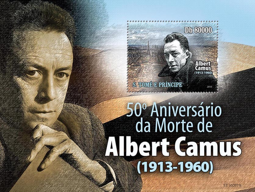 Famous writer Albert Camus ( 1913-1960 ) - Issue of Sao Tome and Principe postage stamps