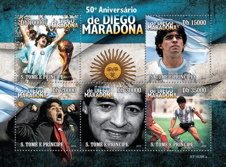 50th Anniversary of  Diego Maradona - Issue of Sao Tome and Principe postage stamps