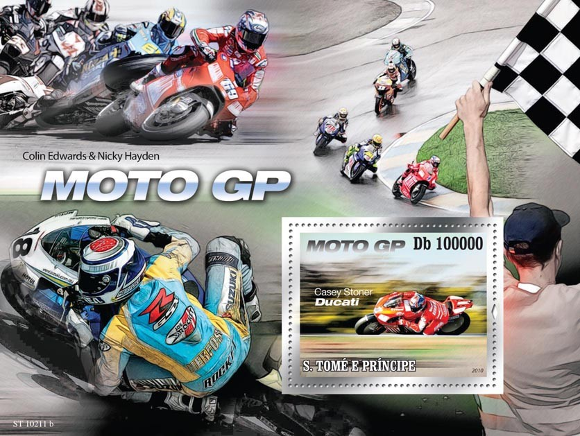 Racing-motorcycles - Issue of Sao Tome and Principe postage stamps