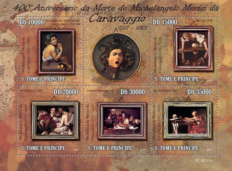 400th Anniversary of  Painter Michelangelo Merisi Caravaggio ( 1571-1610) - Issue of Sao Tome and Principe postage stamps