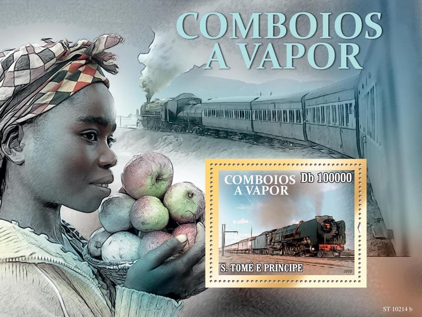 African Trains - Issue of Sao Tome and Principe postage stamps