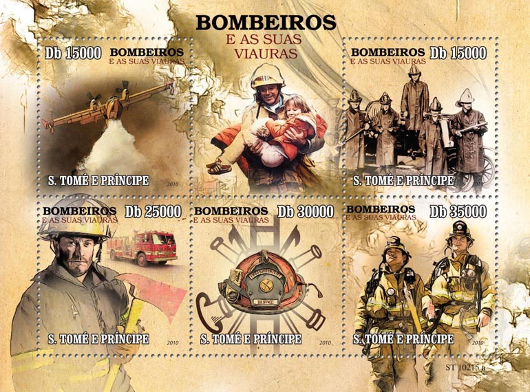 Firefighters - Issue of Sao Tome and Principe postage stamps