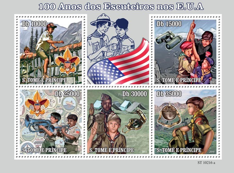 100th Anniversary of  USA boy scouts - Issue of Sao Tome and Principe postage stamps