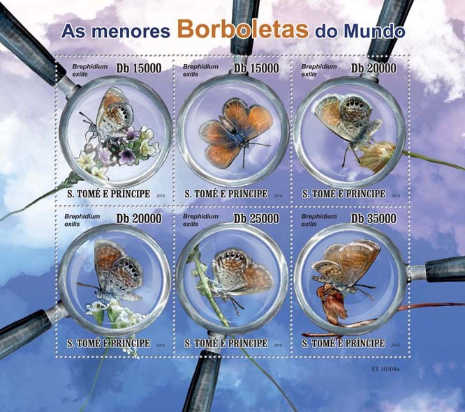 Smallest Butterflies in The World - Issue of Sao Tome and Principe postage stamps