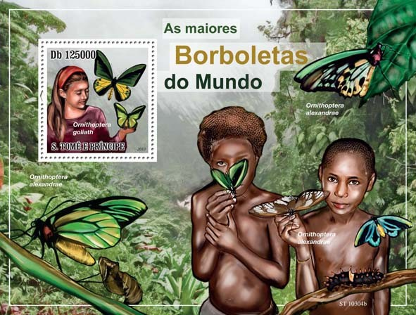 Largest Butterflies in The World - Issue of Sao Tome and Principe postage stamps