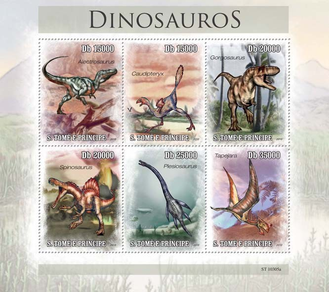 Dinosaurs - Issue of Sao Tome and Principe postage stamps