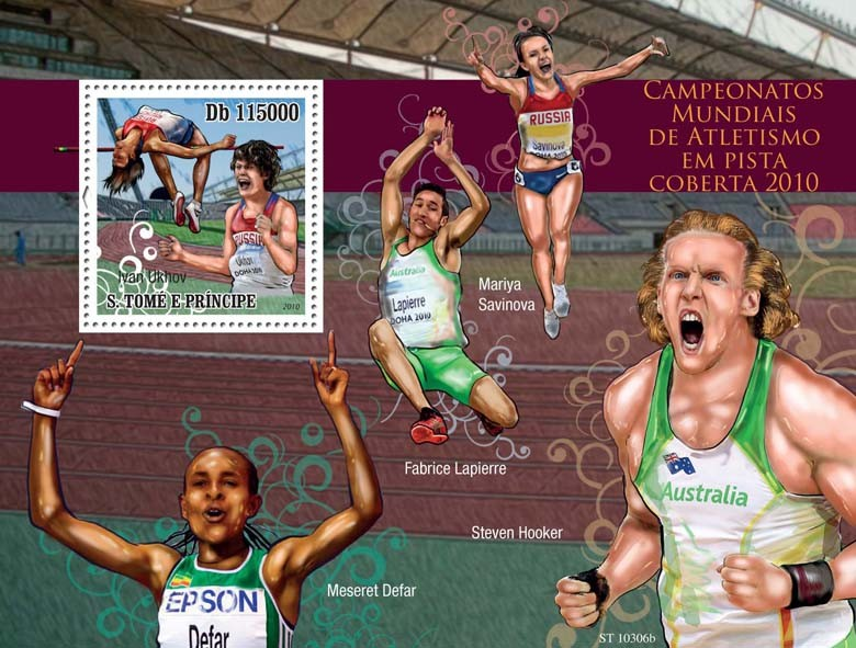 World Indoor Athletics 2010 - Issue of Sao Tome and Principe postage stamps