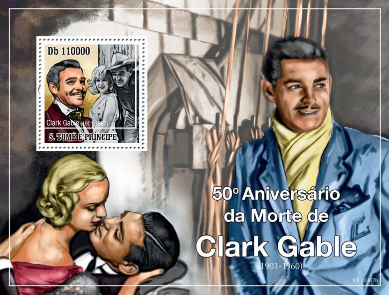 50th Anniversary of Death of Clark Gable ( 1901  1960 ) - Issue of Sao Tome and Principe postage stamps