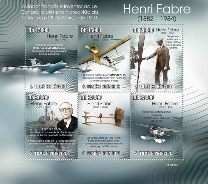 Henri Fabre ( 1882  1984 ), First Hydroplane - Issue of Sao Tome and Principe postage stamps