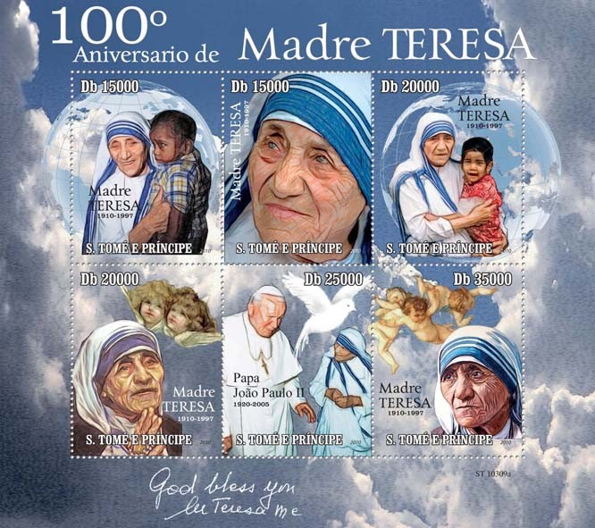 100th Anniversary of Mother Teresa - Issue of Sao Tome and Principe postage stamps