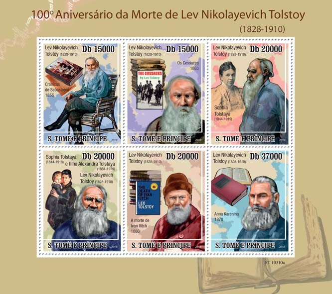 100th Anniversary of Death of Lev Nikolayevich Tolstoy ( 1844  1919 ) - Issue of Sao Tome and Principe postage stamps