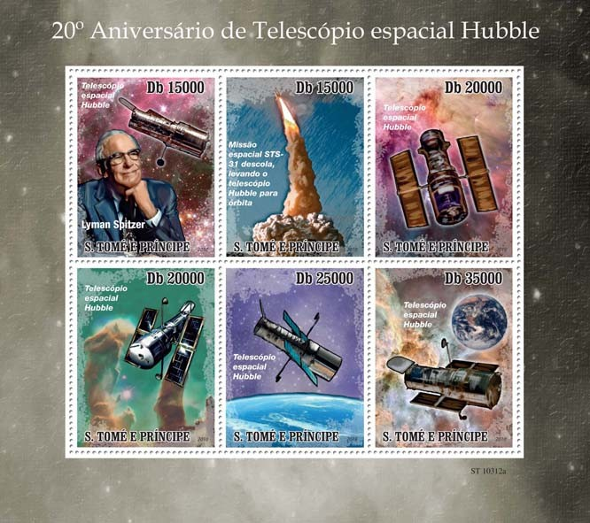20th Anniversary of Hubble Telescope - Issue of Sao Tome and Principe postage stamps
