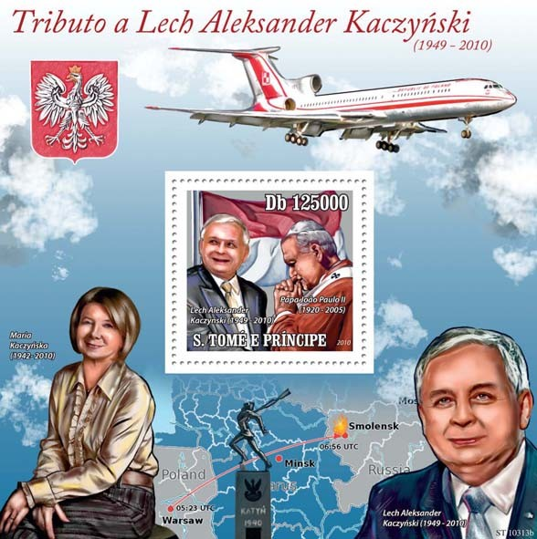 Tribute to Lech Kaczynski ( 1949  210 ) - Issue of Sao Tome and Principe postage stamps