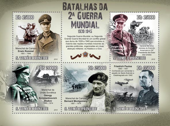 Battles of the Second World War 1939 - 1945, E.Rommel, G.K.Zhukov, B.Montgomery, ect - Issue of Sao Tome and Principe postage stamps
