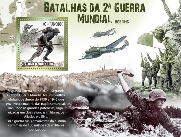 Battles of the Second World War 1939 - 1945 - Issue of Sao Tome and Principe postage stamps