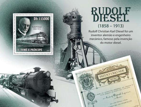 Rudolf Diesel ( 1858  1913 ) - Issue of Sao Tome and Principe postage stamps