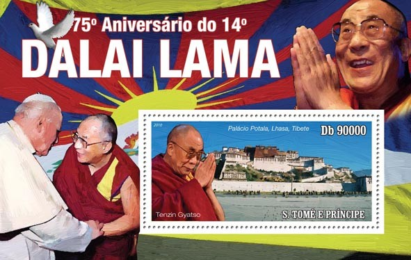 75th Anniversary of Dalai Lama - Issue of Sao Tome and Principe postage stamps