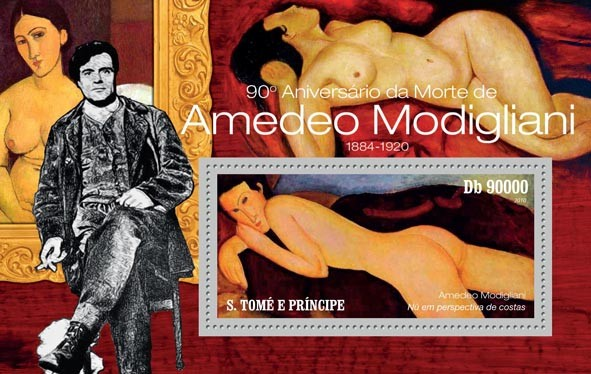 90th Anniversary of Death of Amadeo Modigliani ( 1884  1920 ) - Issue of Sao Tome and Principe postage stamps