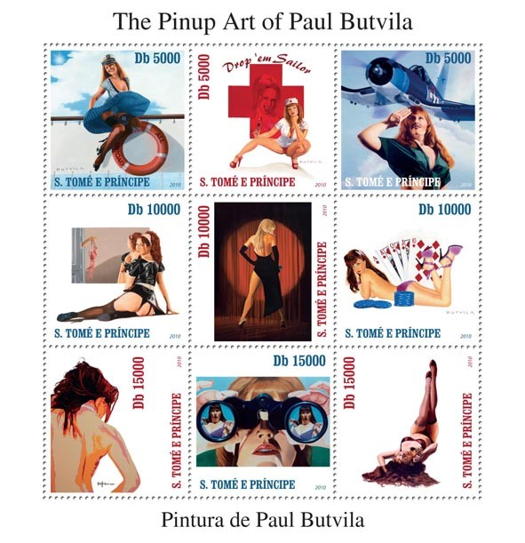 The Pinup Art of Paul Butvila - Issue of Sao Tome and Principe postage stamps