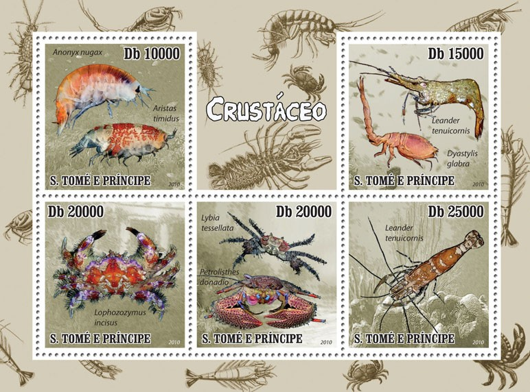 Crustacean - Issue of Sao Tome and Principe postage stamps