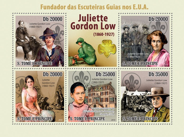 Founder of Girl Scouts in USA Guides Juliette Gordon Low (1860 - 1927) - Issue of Sao Tome and Principe postage stamps