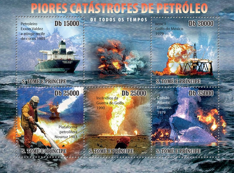 The worst Oil Disaster - Issue of Sao Tome and Principe postage stamps