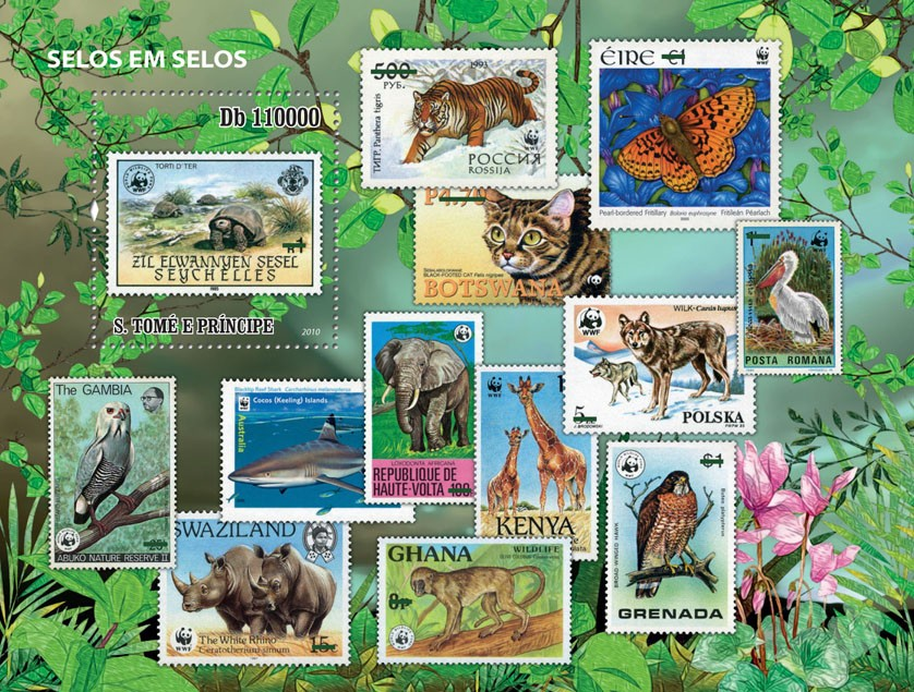 Stamp on stamp (WWF - Fauna) - Issue of Sao Tome and Principe postage stamps