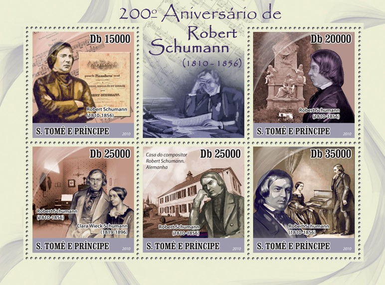 200th Anniversary of Robert Schumann (1810-1856) - Issue of Sao Tome and Principe postage stamps