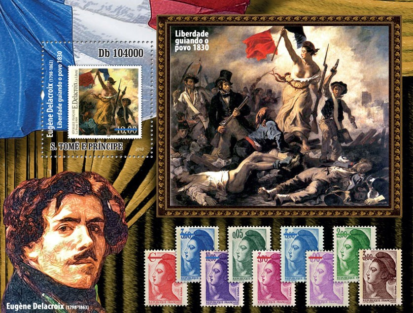 Stamp on stamp - Eugene Delacroix (1798 - 1863)Liberty Leading of the People 1830?タᆵ - Issue of Sao Tome and Principe postage stamps