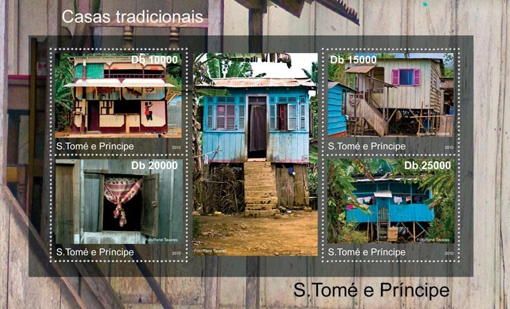 Traditional Houses of Sao Tome & Principe. - Issue of Sao Tome and Principe postage stamps