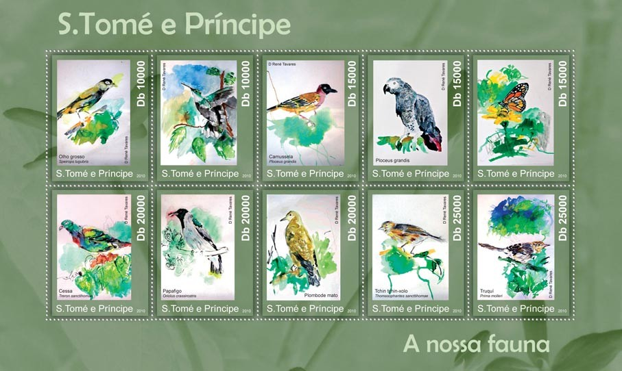 Birds & Butterflies, (Olho grosso, ...) - Issue of Sao Tome and Principe postage stamps